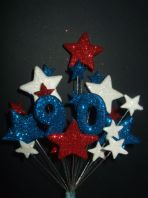 NUMBER AGE BIRTHDAY CAKE TOPPER DECORATION IN RED, WHITE AND BLUE - Postage £3.25